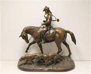 Large & Impressive Bronze Sculpture Of Hunter &