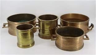 5 Antique English Bronze / Brass Grain Holders.