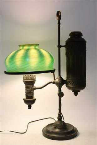 Tiffany Studios Bronze Student Oil Lamp.