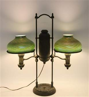 Tiffany Studios Bronze Double Shade Oil  Lamp
