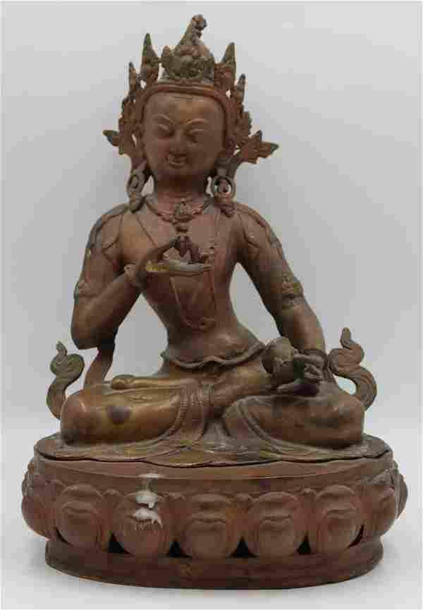 20th C Nepalese Bronze Buddha.