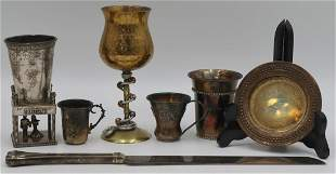 JUDAICA. Assorted Grouping of Sterling and