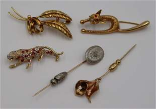 JEWELRY. Grouping of Gold Brooches and Pins.