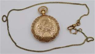 JEWELRY. P.W. Taylor Ladies 14kt Gold Pocket Watch