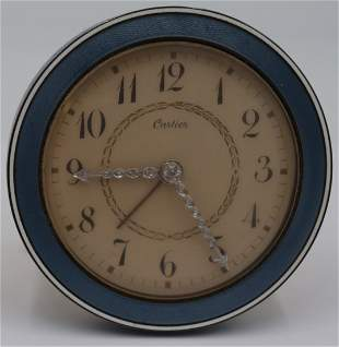 Cartier Guilloche Enamel and Diamond Desk Clock.