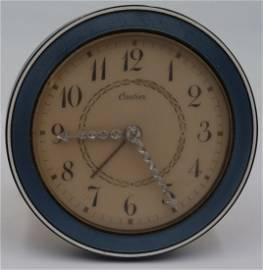 Cartier Guilloche Enamel and Diamond Desk Clock.