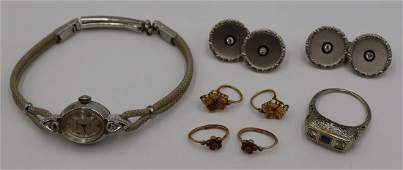 JEWELRY. Assorted Grouping of Vintage Gold Jewelry
