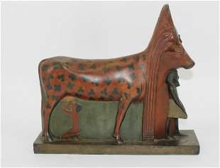Antique Egyptian Revival Patinated Bronze Hathor.