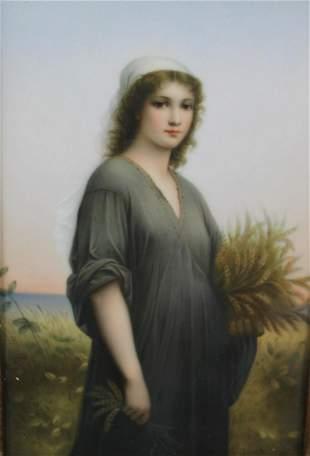 """K.P.M. Framed Porcelain Plaque """"Ruth""""."""
