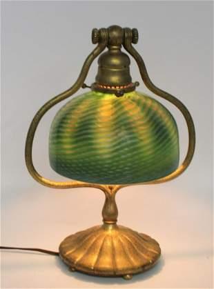 Tiffany Studios Gilt Bronze Harp Lamp & Favrille