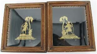2 Antique Gilt Bronze figures In Shadow Boxes &