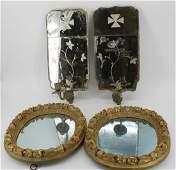 An Antique Pr Of Mirrored Sconces & A Pr Of