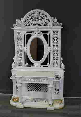 Victorian White Painted Cast Iron Hall Tree.