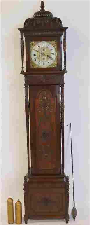 19th Century Sheraton Carved Mahogany Grandfather