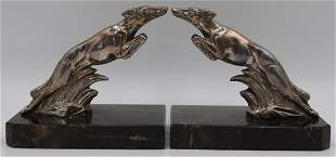 Pair of Signed Art Deco Bronze Bookends of Foxes.