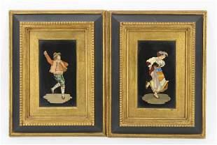 2 Antique Framed Pietra Dura Plaques.