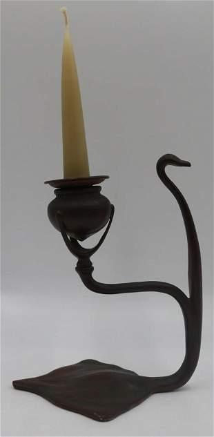 Tiffany Studios Bronze Candlesticks, no. 1203.