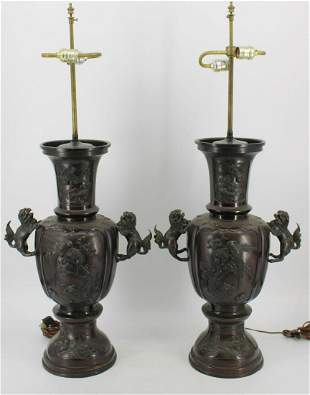 Pair of Large Meiji Bronze Urns Mounted as Lamps.
