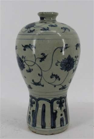 Antique Asian Glazed Blue & White Pottery Vase