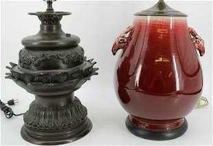 Asian Meiji Bronze Lamp & a Sang de Beouf