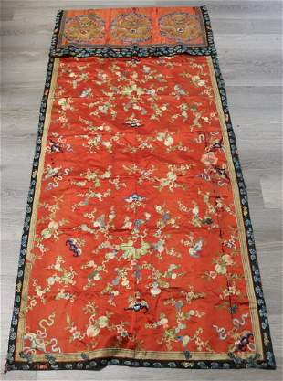 Chinese Embroidered Silk Tapestry or Shawl.