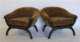 Midcentury Pair Of Upholstered Club Chairs.
