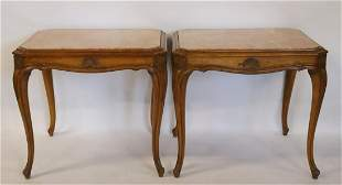 A Midcentury Pair Of French Style Marbletop Table.