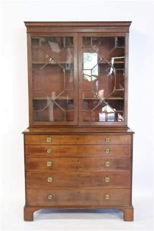 Georgian Inlaid Mahogany Secretary Bookcase.