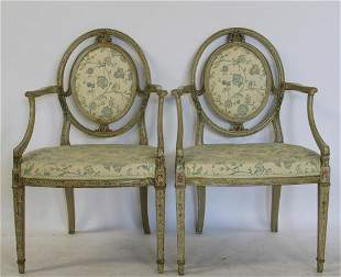 A Pair Of Gustavian Carved & Painted Arm Chairs.