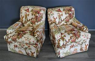Vintage Matched Pair Of Upholstered Club Chairs.