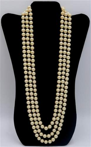 JEWELRY. 14kt Gold and Triple Strand Pearl