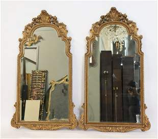 A Large Pair Of Antique Carved & Giltwood Mirrors