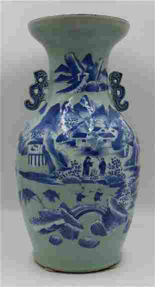 19th C Celadon Vase with Blue and White Decoration