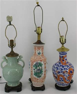 3 Vintage Chinese Porcelain Lamps.