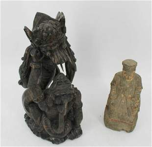 2 Antique Asian Carved Wood Figures.