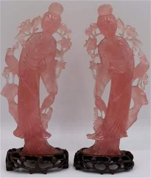 Pair of Rose Quartz Carvings of Quan Yins.