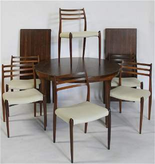Niels Moller Danish Rosewood Table & 6 Chairs