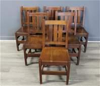 6 L & J Stickley Oak Arts & Crafts Chairs.