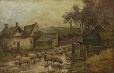 H. Peach? Signed Oil On Board Sheep.