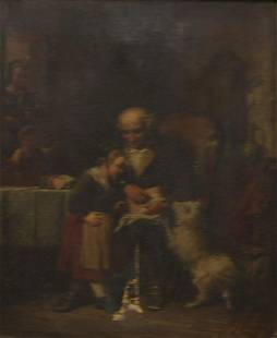 Oil On Canvas Of Man, Child & Dog As / Is