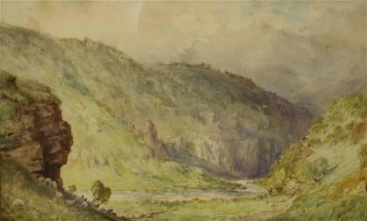 H.Peach Signed Watercolor Landscape.