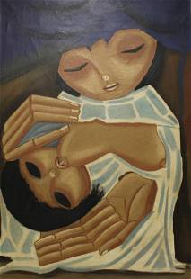 Signed Oil On Canvas Woman Breast Feeding.