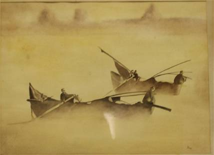 Doak Signed Watercolor Of Boats.
