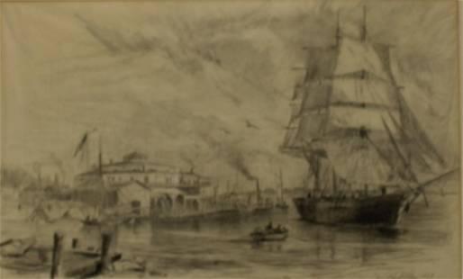 Charlie Lundgren Signed Drawing New York Bay 1869.