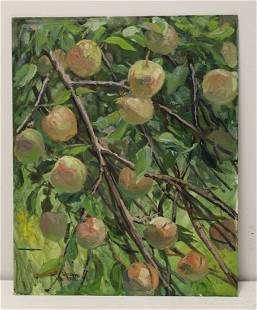 W. A. Drake Signed & Dated Oil On Board Apples.