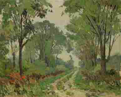 W.A. Drake Signed Oil on Board Woods Landscape.