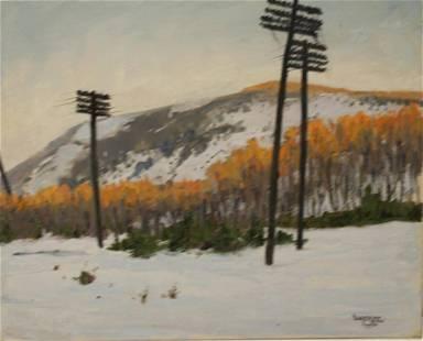 W.A. Drake Oil on Canvas Snowy Hill Landscape.