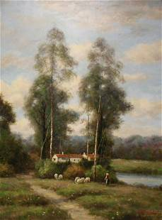Illegibly Signed Oil on Canvas Sheep In Meadow.