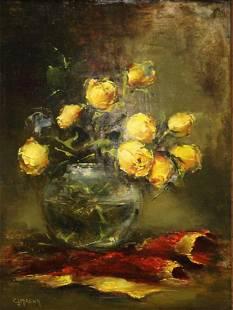 C.J. Masur Signed Floral Oil on Board Still Life.