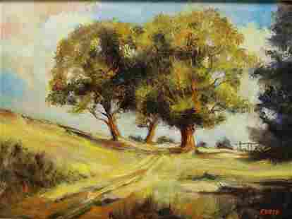 Foote Signed Oil on Canvas Landscape.